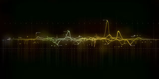 Sound wave modern art. Detailed sound wave from recordings with different frequencies Royalty Free Stock Images
