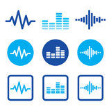 Sound wave music  blue icons set Royalty Free Stock Photography