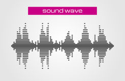 Sound wave music design element  on white background. Stock Photo