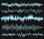 Sound wave set. Audio technology, musical pulse. Vector illustration. Sound wave set. Audio technology, musical pulse. Vector illustration Royalty Free Stock Photos