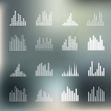 Sound wave shapes on blur background. Stock Photo