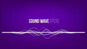 Sound wave vector abstract background. Particles and dots on ultra violet backdrop. Technology music signal. Sound wave vector abstract background. Particles and Royalty Free Stock Image