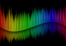 Sound waveform. Colorful Sound waveform (editable vector) on black Royalty Free Stock Photos
