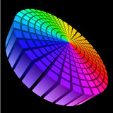 Sound waveform. Colorful Graphic Equalizer. Circle in space. Illustration on black Royalty Free Stock Photography