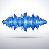 Sound waveform made of chaotic balls. Sound waveform made of chaotic blue balls Stock Photo