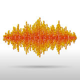 Sound waveform made of chaotic balls Stock Photos