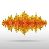 Sound waveform made of chaotic balls. Sound waveform made of chaotic orange balls Stock Photos