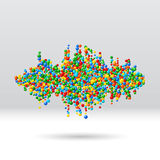 Sound waveform made of scattered balls Royalty Free Stock Photo