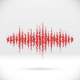 Sound waveform made of scattered balls Stock Photo