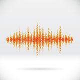 Sound waveform made of scattered balls Royalty Free Stock Images
