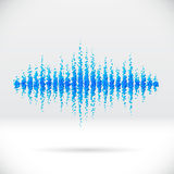 Sound waveform made of scattered balls. Sound waveform made of water themed scattered blue balls Royalty Free Stock Photography