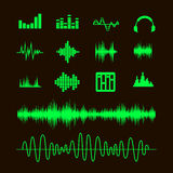 Sound waveforms. Sound waves and musical pulse Royalty Free Stock Photos