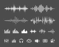 Sound waveforms. Vector Sound Waveforms. Sound waves and musical pulse icons Stock Images