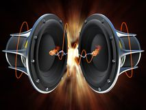 Sound Waves. 3d illustration of a simple audio speaker sitting on a dark surface with glowing orange sound waves emitting from it stock illustration