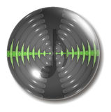 Sound Waves Button Orb Note. An illustration of a sound button with green sound waves and a musical note royalty free illustration