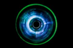 Sound waves in the dark. Sound waves in the visible blue color in the dark Stock Photos