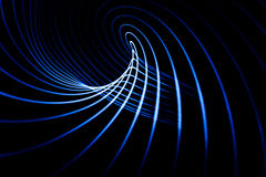 Sound waves in the dark. Sound waves in the visible blue color in the dark Stock Image