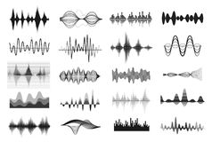 sound waves för musik vektor illustrationer
