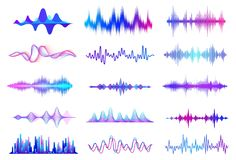 Free Sound Waves. Frequency Audio Waveform, Music Wave HUD Interface Elements, Voice Graph Signal. Vector Audio Wave Royalty Free Stock Photo - 142115245