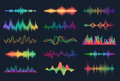Free Sound Waves. Frequency Audio Waveform, Music Wave HUD Interface Elements, Voice Graph Signal. Vector Audio Wave Set Stock Images - 155629134