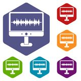 Sound waves icons set hexagon. Isolated vector illustration Royalty Free Stock Image