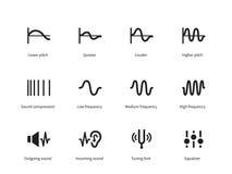 Sound waves icons on white background Royalty Free Stock Photo