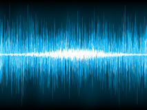 Sound waves oscillating on black background. EPS 8 Stock Images