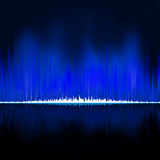 Sound waves oscillating on black background. EPS 8 Stock Photos