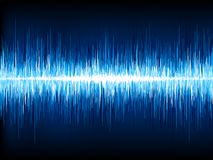 Sound waves oscillating on black. EPS 10 Stock Image