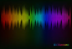 Sound waves oscillating glow colorful light. Vector Stock Image