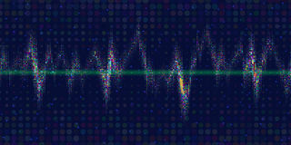Sound waves oscillating glow. Colorful  light. Vibrant halftone dots. Abstract technology background , vector illustration Stock Photos