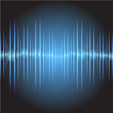 Sound waves oscillating glow dark blue light, Abstract technology background. Vector. Stock Photo