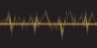 Sound waves oscillating glow, gold light. Royalty Free Stock Image