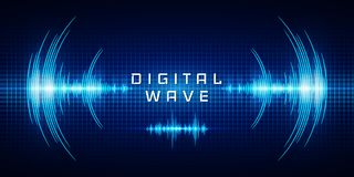 Sound waves oscillating glow light, Digital wave, Abstract technology background - Vector.  vector illustration