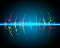Sound waves oscillating glow, neon light. Royalty Free Stock Photos
