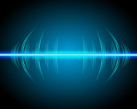 Sound waves oscillating glow, neon light Stock Photos