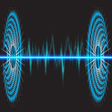 Sound waves oscillating glow, neon light. Stock Photos