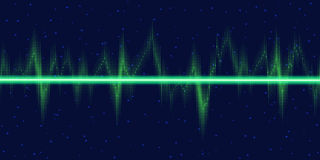 Sound waves oscillating glow, neon light. Royalty Free Stock Images
