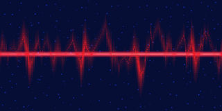 Sound waves oscillating glow, neon light Stock Images