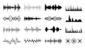 Sound waves set. Black digital radio musical wave. Audio soundtrack shapes. Player pulse forms isolated vector set vector illustration