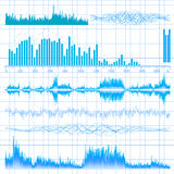 Sound waves set. Music background.  Royalty Free Stock Photos