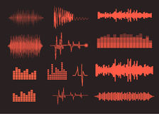 Sound waves set. Music background. EPS 10 vector Stock Photo