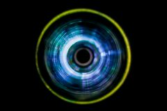 Sound waves in the dark. Sound waves in the visible blue color in the dark Royalty Free Stock Photos