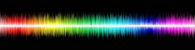 Sound wawe. Rainbow sound wawe on black background Royalty Free Stock Photos