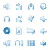 Sound web icons, blue series. Vector web icons, business, finance, computers series Stock Image