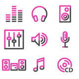 Sound web icons, pink contour series Stock Image