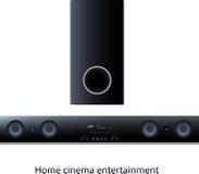 Soundbar panel with subwoofer. Vector Soundbar panel with subwoofer for home cinema Stock Photo