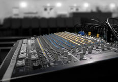 Soundboard. Color and grayscale soundboard in entertainments venue Royalty Free Stock Images