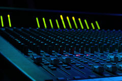 Soundboard Faders. Close up of faders on a large format sound console Royalty Free Stock Photo