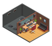 Soundbox Interior Isometric Composition Royalty Free Stock Image